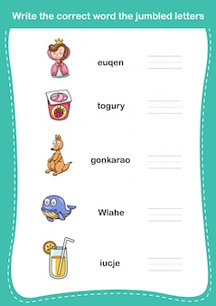 Écrivez le mot correct les lettres brouillées