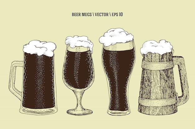 Ector dessiné à la main tasse de bouteille de bière, tasse, verre. jeu d'illustration. rétro