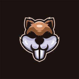 Écureuil animal tête dessin animé logo modèle illustration esport logo jeu premium vecteur