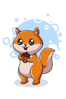 L'écureuil a apporté une pomme de pin