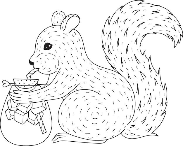 Écureuil buvant un cocktail pour cahier de coloriage, coloriage. illustration