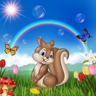 Écureuil de dessin animé avec fond de nature