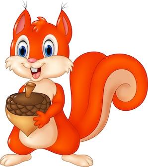 Écureuil drôle de dessin animé tenant la pomme de pin