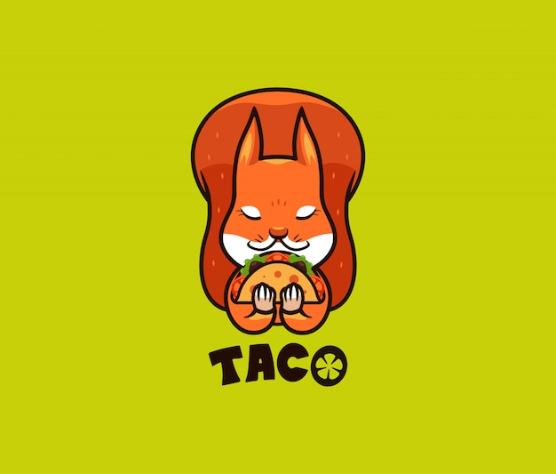 L'écureuil drôle de logo mange du taco. animal sauvage mignon, personnage de dessin animé