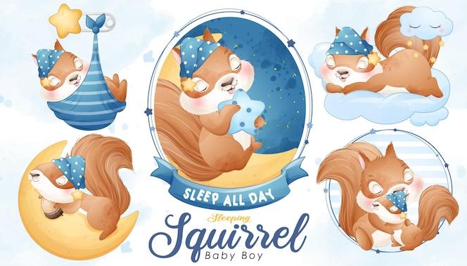 Écureuil endormi mignon avec jeu d'illustrations à l'aquarelle