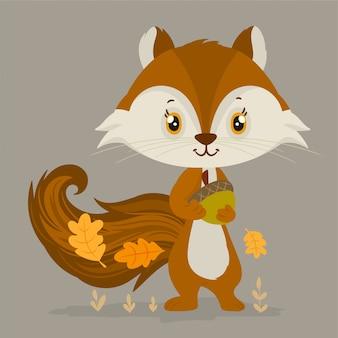 Écureuil avec gland et feuilles de chêne