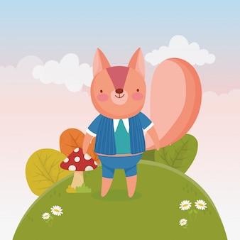 Écureuil mignon avec dans la colline fleurs feuillage nature