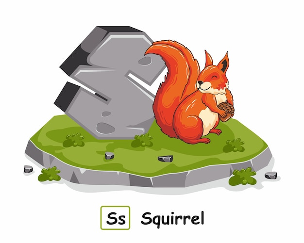 Écureuil avec pierre de roche à partir de la lettre