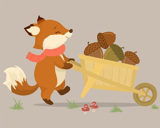 Écureuil ramassant des noix