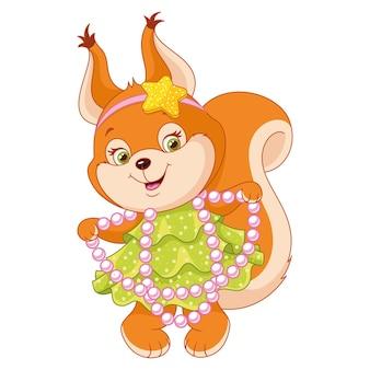 Écureuil en robe pour fête sur fond blanc
