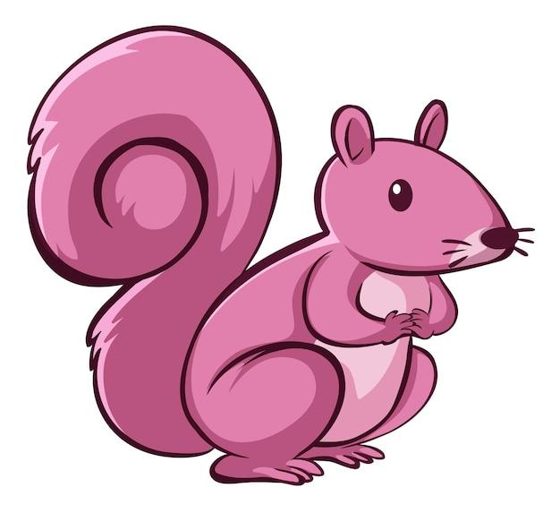Écureuil rose sur fond blanc