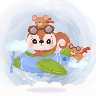 Écureuil et souris adorables volant avec un avion dans l'illustration d'aquarelle