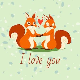 Écureuils couple dans la bannière de l'amour, carte de voeux. animaux de dessin animé, tenant par la main. coeurs volants. je t'aime. personnages de la saint-valentin