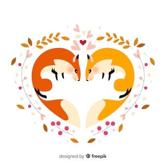 Écureuils mignons formant un coeur