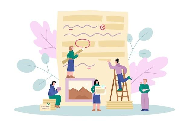 Éditeur de grammaire et services de rédaction illustration vectorielle plane isolée