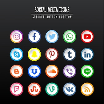 édition de bouton autocollant de médias sociaux