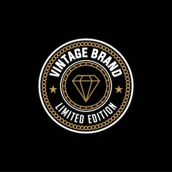 Édition limitée de marque vintage, modèle de conception de logo diamant