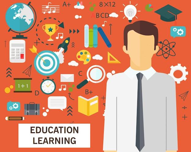 Éducation apprentissage concept fond d'icônes plat.
