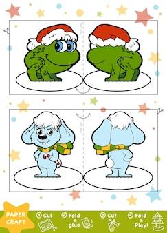 Éducation artisanat de papier de noël pour les enfants lapin et grenouille utilisez des ciseaux et de la colle pour créer une image