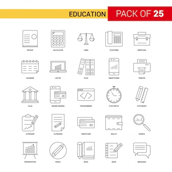 Education black line icon - jeu d'icônes de contour 25 affaires