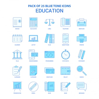 Education blue tone icon pack