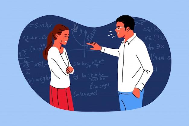 Éducation, culpabilité, étude, conflit, concept de conviction