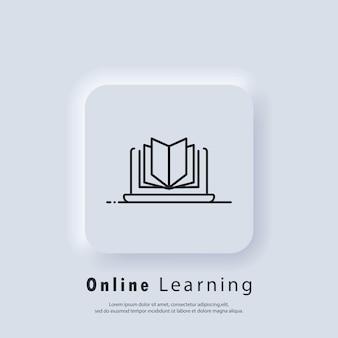 Éducation à distance, icône de livres électroniques. éducation en ligne ou bannière d'examen à distance. cours e-learning à domicile, étude en ligne. vecteur. icône de l'interface utilisateur. bouton web de l'interface utilisateur blanc neumorphic ui ux. neumorphisme