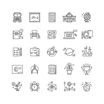 Education, école, sciences, apprendre des icônes vectorielles de fine ligne