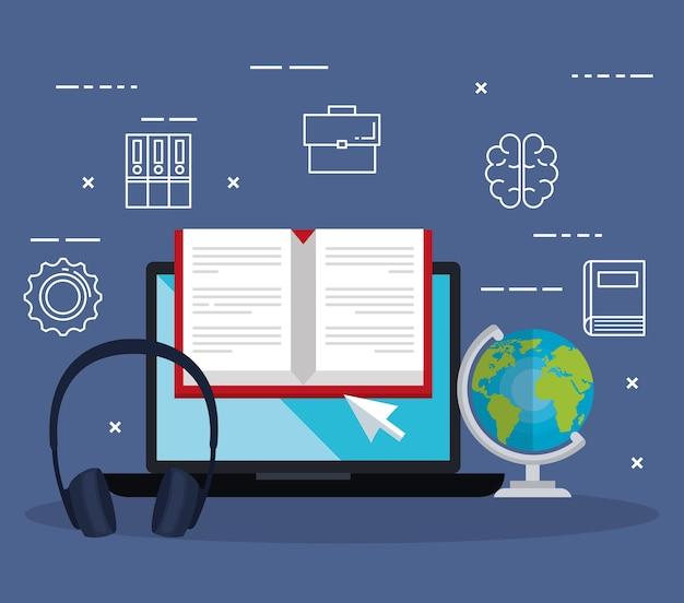 Éducation électronique avec ordinateur portable vector illustration design