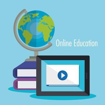 Éducation électronique avec tablette design illustration vectorielle
