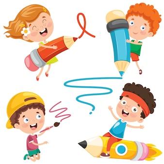 Éducation avec des enfants drôles