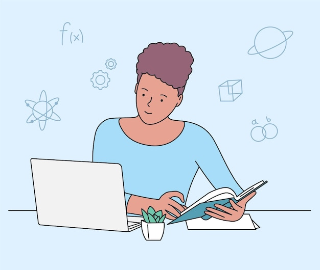 Éducation, étude, concept d'apprentissage. fille étudiant au lit avec ordinateur portable et livres. ordinateur de bureau en milieu de travail étudiant à faire ses devoirs