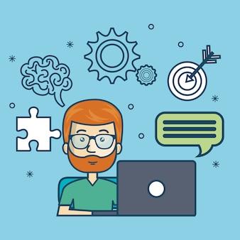 éducation de gars en ligne avec un design d'ordinateur portable