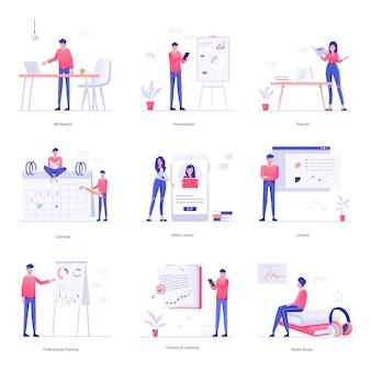 Éducation et illustrations de personnages d'apprentissage