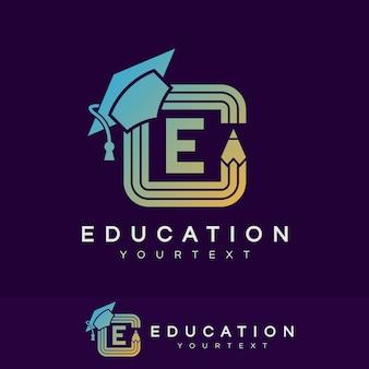 Éducation initiale lettre e logo design