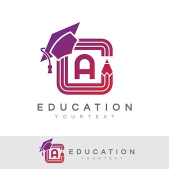Éducation initiale lettre a logo design