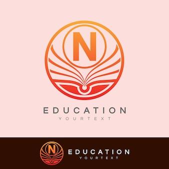 Éducation initiale lettre n logo design