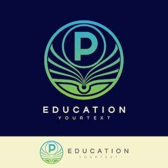 Éducation initiale lettre p logo design
