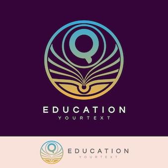 Éducation initiale lettre q logo design