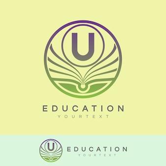 Éducation initiale lettre u logo design
