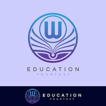 Éducation initiale lettre w logo design