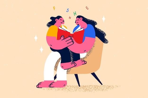 Éducation, lecture, apprentissage, concept de connaissance. jeune femme souriante, mère ou enseignante assise et lisant un livre avec illustration vectorielle de petite fille