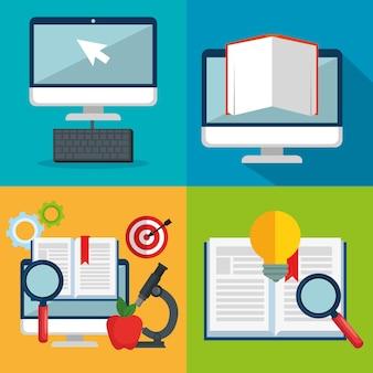 Éducation en ligne définir des icônes