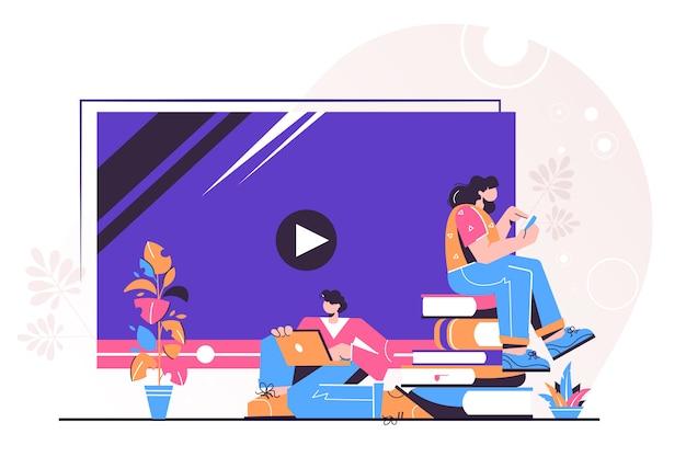 Éducation en ligne, didacticiels vidéo, webinaire, formation et cours en ligne