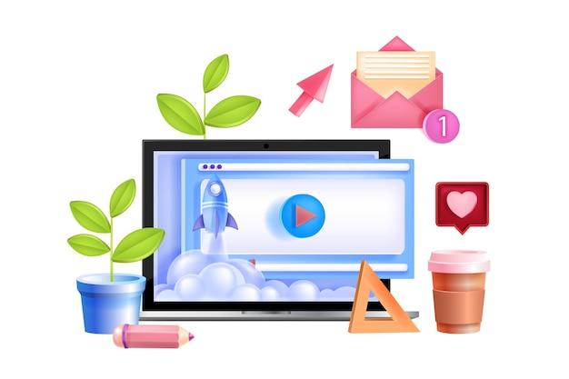 Éducation en ligne, école, concept de formation de vecteur universitaire avec écran d'ordinateur portable, lancement de fusée, courrier électronique.