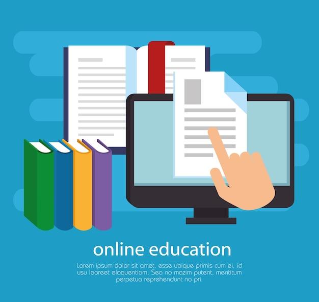 Éducation en ligne avec écran de bureau
