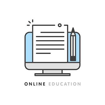 Éducation en ligne, écriture créative et narration, concept de rédaction, édition de document texte, apprentissage à distance, illustration vectorielle.