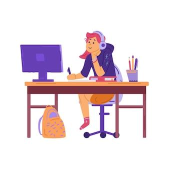 Éducation en ligne des enfants et illustration vectorielle plate de l'école internet isolée