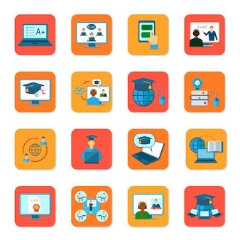 Education en ligne enseignement et remise des diplômes icônes définies illustration vectorielle isolé
