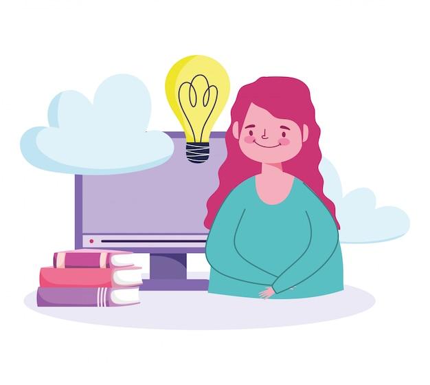 Éducation en ligne, étudiant fille ordinateur pile livres idée apprentissage